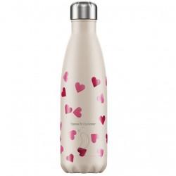 Chilly's ανοξείδωτο μπουκάλι Θερμός 500ml,  Pink Hearts, Emma Bridgewater