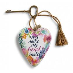 """Διακοσμητική καρδιά της Demdaco """"You make my heart smile"""""""