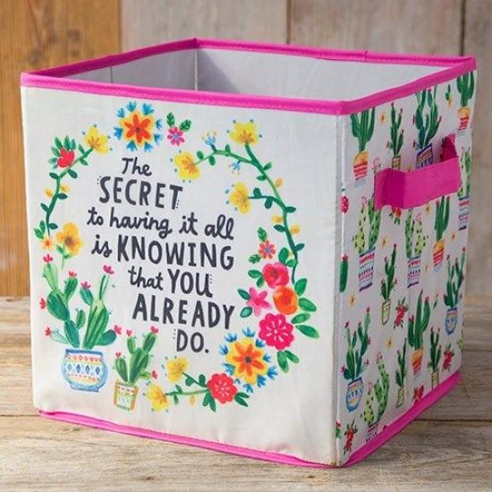 """Κουτί αναδιπλούμενο αποθήκευσης της Natural Life  """"The secret of having it all is knowing that you already do"""""""