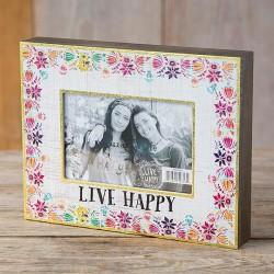 """Κορνίζα ξύλινη Natural Life """"Live happy"""""""
