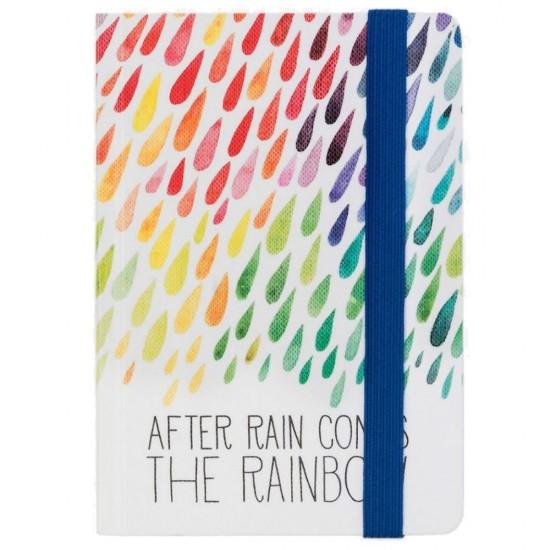 """Σημειωματάριο με λάστιχο της Legami """"After rain comes the rainbow""""_medium"""
