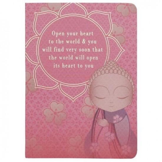 """Σημειωματάριο Little Buddha """"Open your heart to the world & you will find very soon that the world will open its heart to you"""""""