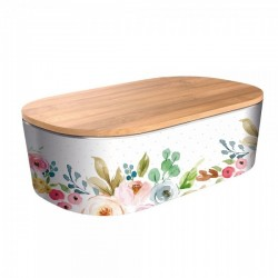 "Lunch box deluxe ""Romantic flowers"" , φαγητοδοχείο από οργανικό bamboo TUV certified"