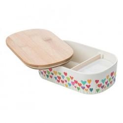 "Lunch box ""Heart Garden"" , φαγητοδοχείο από οργανικό bamboo TUV certified"