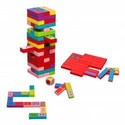 Ξύλινο παιχνίδι 3 σε 1, πύργος τύπου Jenga, παιχνίδι μνήμης και domino