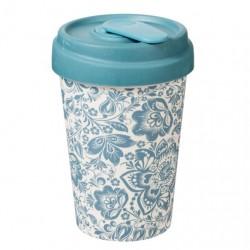 """Ποτήρι bamboo Chic Mic """"Blue flowers"""" 100% βιοδιασπώμενο μπαμπού TUV certified"""