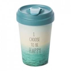 """Ποτήρι bamboo Chic Mic """"I choose to be happy"""" 100% βιοδιασπώμενο μπαμπού TUV certified"""