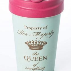 """Ποτήρι bamboo Chic Mic """"Property of her majesty, the Queen of everything"""" 100% βιοδιασπώμενο μπαμπού TUV certified"""