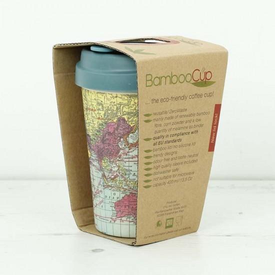 """Ποτήρι bamboo Chic Mic """"World map"""" 100% βιοδιασπώμενο μπαμπού TUV certified"""