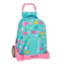 Τσάντα δημοτικού με τρόλευ της Safta Benetton 32x15x43 εκ.