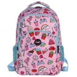 """Τσάντα πλάτης δημοτικού Fringoo """"Doodle Pink"""" 30X18X44 εκ."""
