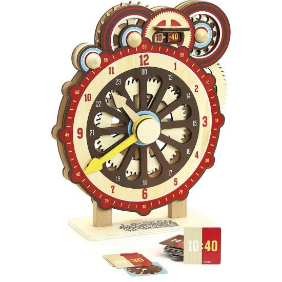 """Χειροκίνητο ξύλινο ρολόι εκμάθησης ώρας με γρανάζια και """"ψηφιακό"""" δείκτη"""