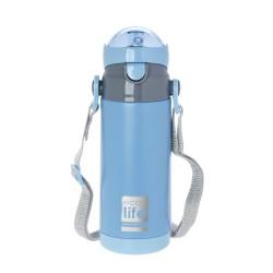 Ecolife παιδικό ανοξείδωτο μπουκάλι θερμός 400 ml με καλαμάκι και ιμάντα μεταφοράς, μπλε