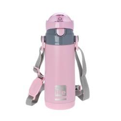 Ecolife παιδικό ανοξείδωτο μπουκάλι θερμός 400 ml με καλαμάκι και ιμάντα μεταφοράς, ροζ