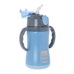 Ecolife παιδικό ανοξείδωτο μπουκάλι θερμός 300 ml με καλαμάκι, μπλε