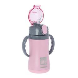 Ecolife παιδικό ανοξείδωτο μπουκάλι θερμός 300ml, με καλαμάκι, ροζ