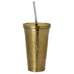 Ecolife ανοξείδωτο ποτήρι θερμός με αποσπώμενο ανοξείδωτο καλαμάκι, 480ml, χρυσαφί