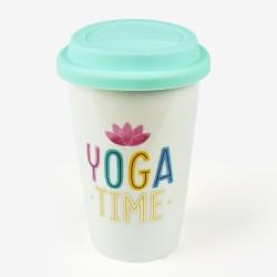 """Κούπα με καπάκι σιλικόνης της Legami """"Yoga time"""""""