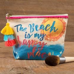"""Τσαντάκι από καμβά της Natural Life """"The beach is my happy place"""""""