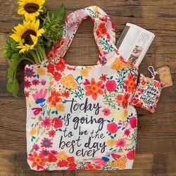 """Τσάντα αναδιπλούμενη για ψώνια της Natural Life """"Today is going to be the best day ever"""""""