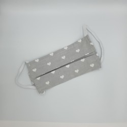 Παιδική μάσκα με ρινικό έλασμα 100% βαμβάκι OEKO-TEX  γκρι με καρδούλες